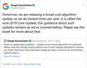 Google 2019 Core Update